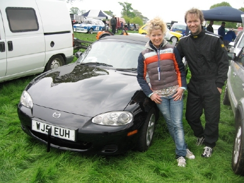 Tim Rees with girlfriend Fran and 1800cc MX-5 Mk 2.5